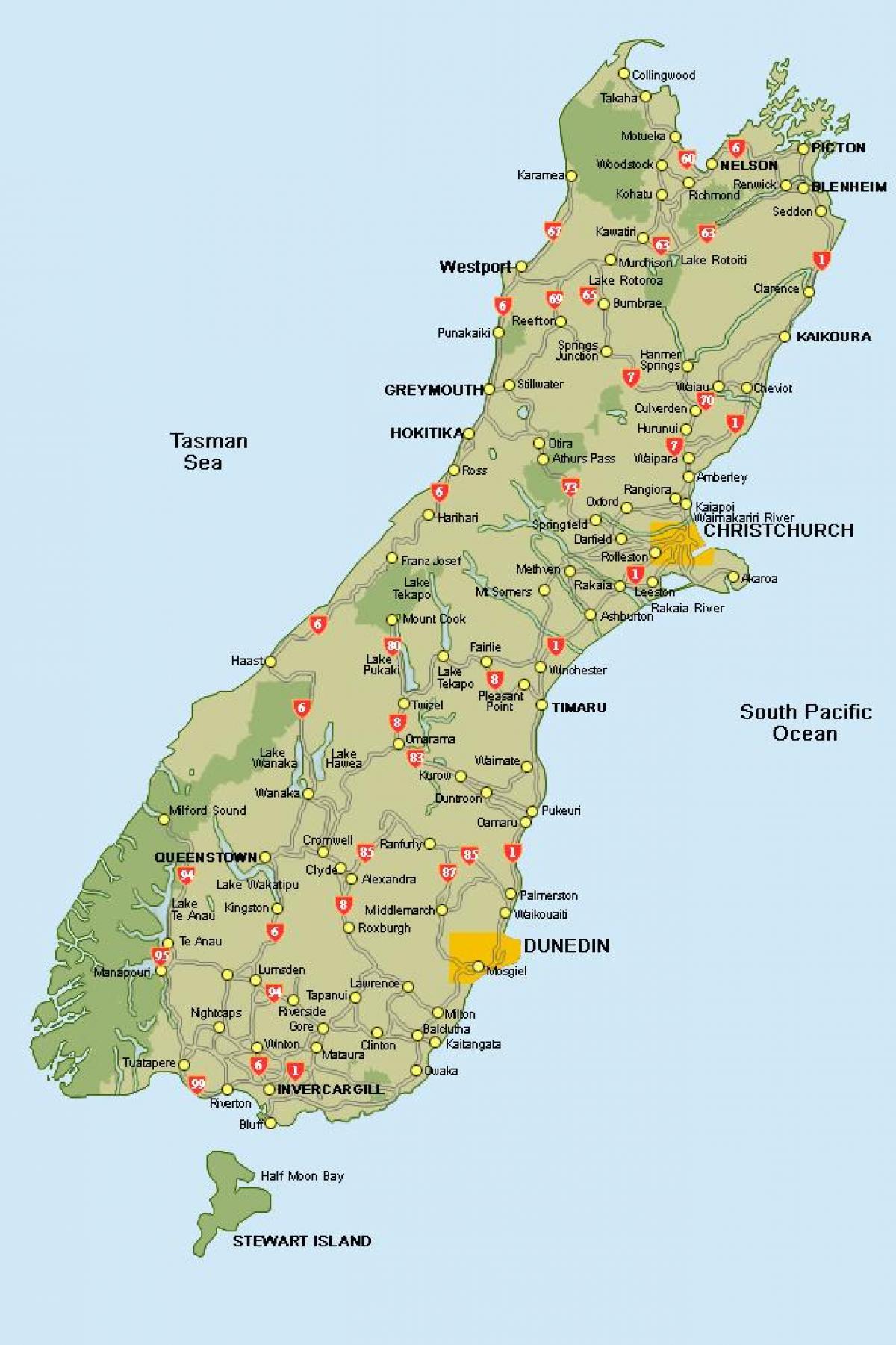 Uuden Seelannin Etela Island Road Map Uusi Seelanti Kartta South