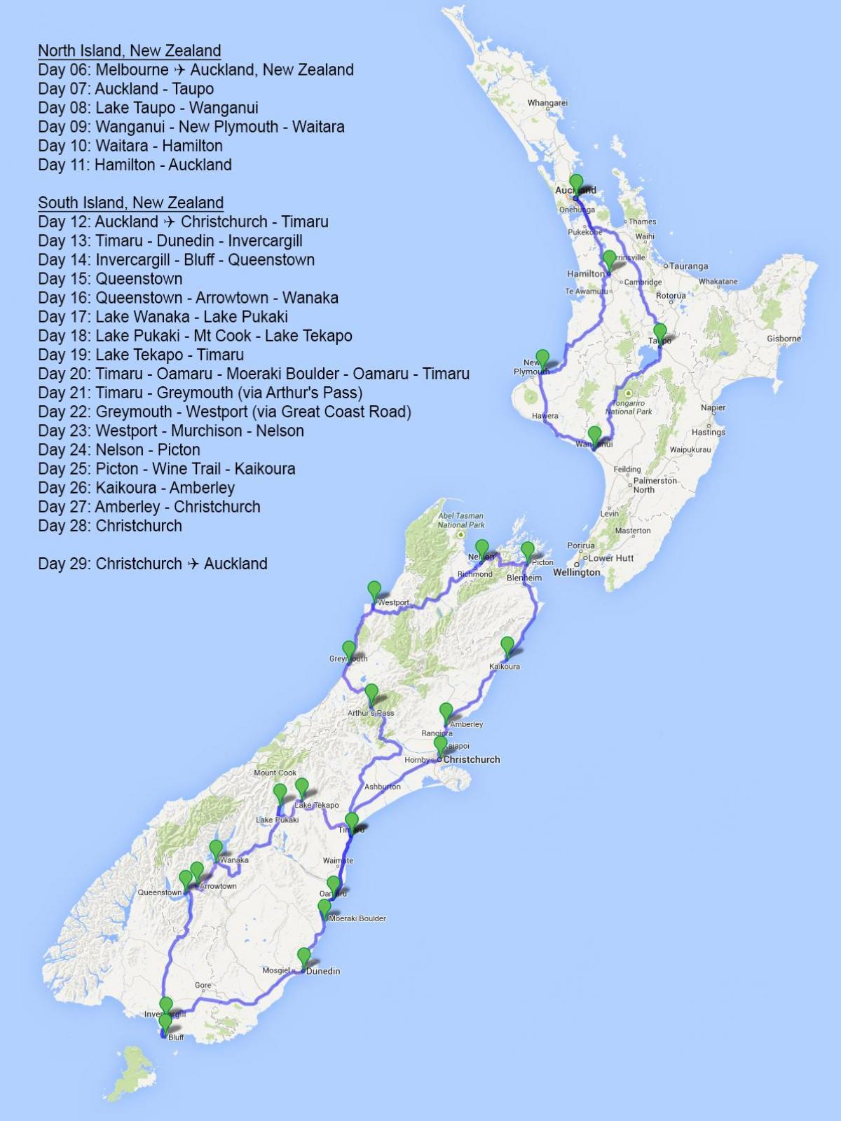 Uusi Seelanti Trip Planner Kartta Kartta Uuden Seelannin Trip