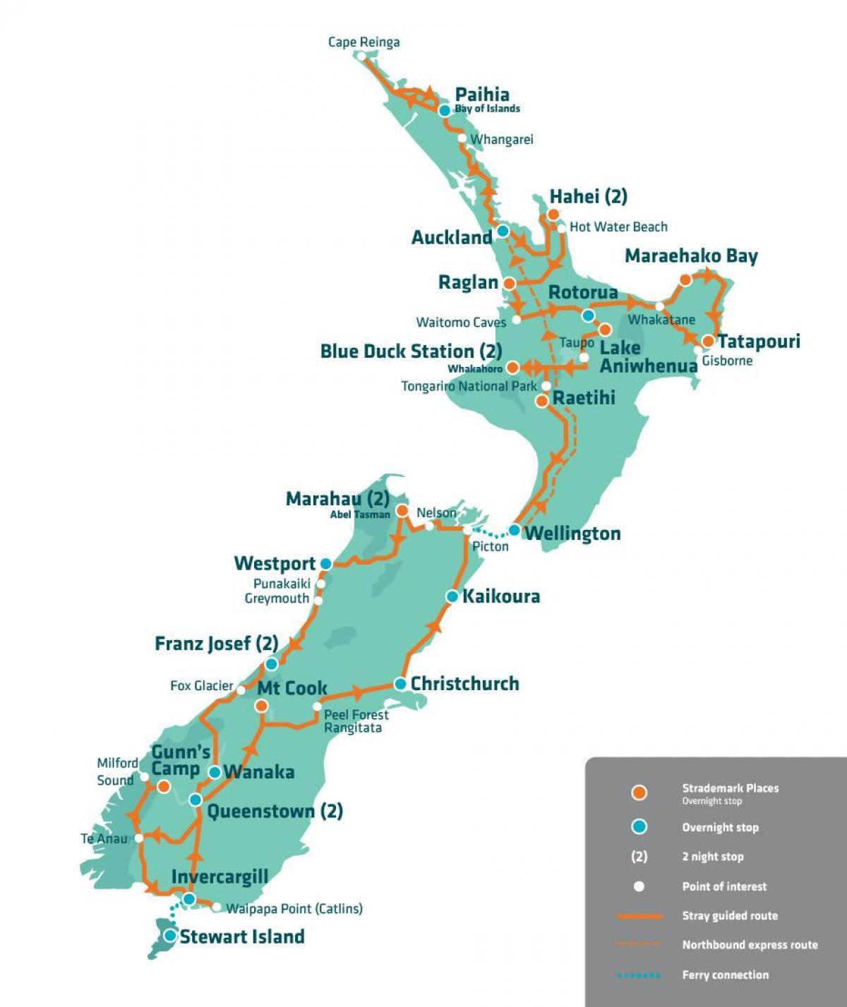 Uusi Seelanti Turisti Kartta Uuden Seelannin Nahtavyydet Kartta